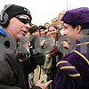 Beck Diefenbach  -  bdiefenbach@daily-chronicle.com<br /> <br /> WLBK's Terry Ryan interviews DeKalb High School sophomore Justice Magarotto during Ryan's Freezing for Food annual food drive in the parking lots of Starbuck's in DeKalb, Ill., on Wednesday Dec. 2, 2009. Magarotto and other DeKalb students were in costume as part of Madrigals and performed on the air.