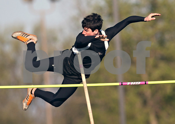 Beck Diefenbach  -  bdiefenbach@daily-chronicle.com<br /> <br /> Kaneland's Josh Bloome competes in the pole vault during the Gib Seegers Track and Field Classic at Sycamore High School in Sycamore, Ill., on Friday May 1, 2009.