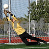 Beck Diefenbach    bdiefenbach@daily-chronicle.com<br /> Sycamore goal keeper Jon Hamil blocks a shot during the first half of the game against DeKalb High School at the Northern Illinois University Soccer and Track and Field Complex in DeKalb, Ill., on Monday Sept. 5, 2009.