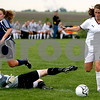 Rob Winner – rwinner@daily-chronicle.com<br /> Karissa Miller (right) moves past goalkeeper Lauren Purcell, of Peoria Notre Dame, for Sycamore's second goal in the first half of Tuesday's Class 2A Rochelle Supersectional. Sycamore went on to defeat Peoria Notre Dame 5-0.<br /> 06/02/2009