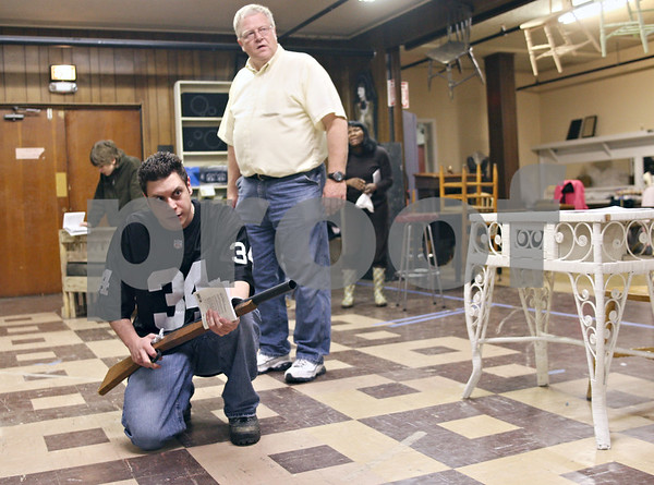 Beck Diefenbach  -  bdiefenbach@daily-chronicle.com<br /> <br /> Top, Bernie Schuneman, as Atticus, and James Mallouf, as Sheriff Heck Tate, rehearse a scene for To Kill a Mockingbird at the Stagecoach Players Theater in DeKalb, Ill., on Wednesday May 13, 2009.