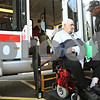 Beck Diefenbach  -  bdiefenbach@daily-chronicle.com<br /> <br /> Voluntary Action Center driver Larry Weaver, right, brings Irving Warrington, of DeKalb, home after a doctor's visit on Tuesday Dec. 1, 2009.