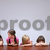 Beck Diefenbach  -  bdiefenbach@daily-chronicle.com<br /> <br /> (From left) Hiawatha kindergardeners  Kristen French, Leah Ingle, Kaylee Knaskaik, Brianna Block and Maxwell Banks and sit through a practice lunch period on their first day of school in Kirkland, Ill., on Tuesday Aug. 18, 2009.