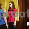 Beck Diefenbach  -  bdiefenbach@daily-chronicle.com<br /> <br /> DeKalb's Classical Conversation mock trial team defendant Ellyn Heegaard, 14, is sworn by the bailiff Shelbie Mosca, 15, during their mock murder trail against the Freeport team at the DeKalb County courthouse in Sycamore, Ill., on Wednesday May 20, 2009.