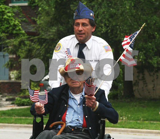 Randi Stella – rstella@daily-chronicle.com<br /> <br /> Jim Quimby, a war veteran, participated in his first parade during the DeKalb Memorial Day parade Monday May 25th, 2009.