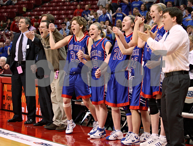 Beck Diefenbach – bdiefenbach@daily-chronicle.com<br /> <br /> The Hinckley-Big Rock girls basketball team reacts after Bianca Edmeier (not pictured) scored the final point of the game during the fourth quarter of the Class 1A IHSA State Basketball Championships against Winchester West Central at the Red Bird Arena in Normal, Ill., on Saturday Feb. 28, 2009.