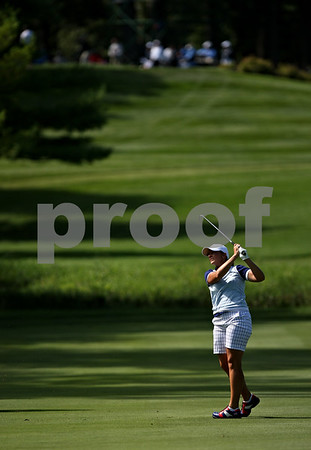 Beck Diefenbach  -  bdiefenbach@daily-chronicle.com<br /> <br /> USA's Angela Stanford on the 8th hole against team Europe at the Solheim Cup in Sugar Grove, Ill., on Saturday Aug. 22, 2009.