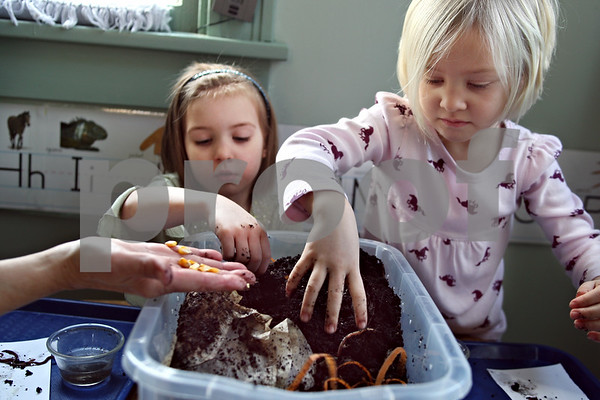 Beck Diefenbach – bdiefenbach@daily-chronicle.com<br /> <br /> Right, Nora Vietmier, 4, and Paige Walk, 5, reach into the classes compost bin in search of worms at Home Away from Home day care in DeKalb, Ill., on Thursday March 12, 2009. The class will use dirt from the compost bin in their garden in the spring.