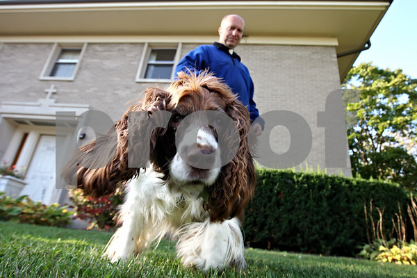Rob Winner – rwinner@daily-chronicle.com<br /> Father Ken Anderson of St. Mary Catholic Church in DeKalb walks his dog Kosia, an English Springer Spaniel, on Wednesday morning. Anderson and Kosia have been together for 11 years.<br /> 09/30/2009