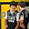 Beck Diefenbach  -  bdiefenbach@daily-chronicle.com<br /> <br /> Sycamore's Harlan Johnson, left, and Joe Strack during practice at Sycamore High School in Sycamore, Ill., on Monday Jan. 19, 2008. Strack and Johnson are first cousins.
