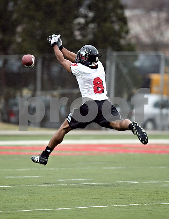 Beck Diefenbach  -  bdiefenbach@daily-chronicle.com<br /> <br /> Northern Illinois' Tommy Davis (8) during practice at NIU's Huskie Stadium in DeKalb, Ill., on Tuesday March 24, 2009.
