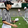 Rob Winner – rwinner@daily-chronicle.com<br /> Sarah Thomas jots down some notes during Saturday's Northern Illinois-Idaho game at Huskie Stadium.<br /> 09/26/2009