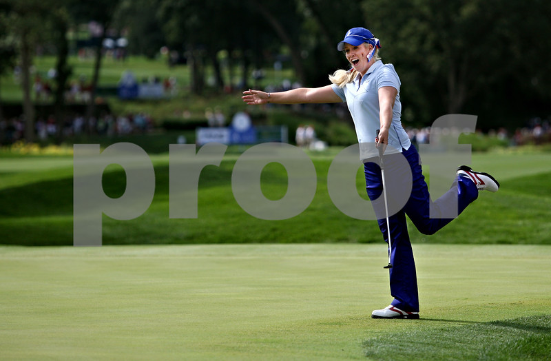 Rob Winner rwinner@shawsuburban.com<br /> Brittany Lincicome reacts after a sinking a birdie on sixth hole during the first round of the Solheim Cup on Friday.<br /> 08/21/2009
