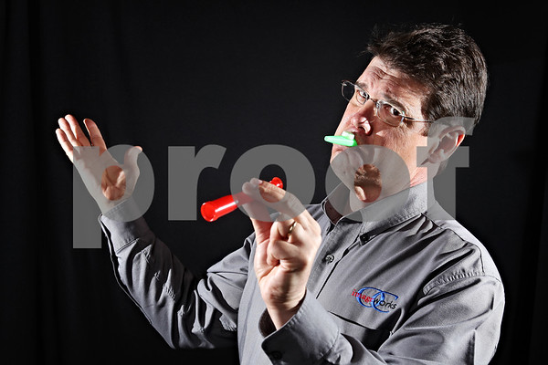 "Beck Diefenbach  -  bdiefenbach@daily-chronicle.com<br /> <br /> David Barrow created the ""Hard Times Survival Kit."" The kazoo replaces your MP3 player, while the telescopes lets you watch your neighbor's cable television."