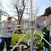 Rob Winner – rwinner@daily-chronicle.com<br /> Dorrie Garman and her husband George work together to raise a LED Christmas tree decoration in the backyard of their Sycamore home on Friday November 27, 2009.