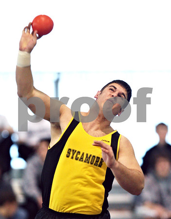 Beck Diefenbach  -  bdiefenbach@daily-chronicle.com<br /> <br /> Sycamore's Jim Cole throws the shot put during the Western Sun Conference Invitational track and field meet at Sycamore High School in Sycamore, Ill., on Thursday March 19, 2009.