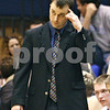 Beck Diefenbach  -  bdiefenbach@daily-chronicle.com<br /> <br /> Genoa-Kingston head coach Corey Jenkins as his teams trails Rockford Lutheran during the second quarter of the game at GK in Genoa, Ill., on Friday Jan. 16, 2009. Lutheran beat GK 46 to 39.