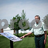 Beck Diefenbach  -  bdiefenbach@daily-chronicle.com<br /> <br /> Tom Warren stands by one of the many informational signs in his park, Finding Heros, in Somonauk, Ill., on Friday May 22, 2009.