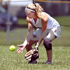 Beck Diefenbach  -  bdiefenbach@daily-chronicle.com<br /> <br /> Kishwaukee Valley Storm's Carlie Varga (1) fields a ground ball during the 18-under game against the St. Charles Comets during Storm Dayz in Sycamore, Ill., on Sunday June 28, 2009.