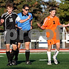 Beck Diefenbach    bdiefenbach@daily-chronicle.com<br /> Sycamore's Adam Westerby (16, left) and DeKalb's Sammy Lake (2) react after each received a yellow card during the first half of the game at the Northern Illinois University Soccer and Track and Field Complex in DeKalb, Ill., on Monday Sept. 5, 2009.