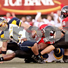 Rob Winner – Chronicle News Group<br /> Northern Illinois' Larry English (51, center) sacks Toledo quarterback Aaron Opelt (11, left) during the game at Huskie stadium at NIU in DeKalb, Ill., on October 18, 2008.
