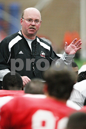 Beck Diefenbach  -  bdiefenbach@daily-chronicle.com<br /> <br /> Northern Illinois head coach Jerry Kill during practice at the DeKalb Recreation Center in DeKalb, Ill., on Friday Dec. 12, 2009.