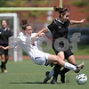 Beck Diefenbach  -  bdiefenbach@daily-chronicle.com<br /> <br /> Sycamore's Nici Newquist (2) is nearly swept by Wheaton Academy's Lindsey Burke (3) during the first half of the Class 2A state semifinal game at North Central College in Naperville, Ill., on Friday June 5, 2009.