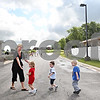 Beck Diefenbach  -  bdiefenbach@daily-chronicle.com<br /> <br /> 3-year-olds head teacher Mindy Walker leads a line of children during a monthly fire drill at Land of Learning Child Care Center in Sycamore, Ill., on Thursday Aug. 20, 2009.