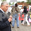 Beck Diefenbach  -  bdiefenbach@daily-chronicle.com<br /> <br /> State Representative Robert Pritchard speaks during the rally for child care providers and other social services demonstrating outside his office in Sycamore, Ill., on Thursday June 11, 2009.