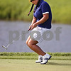 Beck Diefenbach  -  bdiefenbach@daily-chronicle.com<br /> <br /> USA's Christina Kim reacts to her put on the 6th hole against team Europe at the Solheim Cup in Sugar Grove, Ill., on Saturday Aug. 22, 2009.