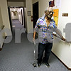 Rob Winner – rwinner@daily-chronicle.com<br /> Bill Hayes uses his cane that he received from Mary's Lending Closet to walk around the Waterman Garden Apartments on Monday October 26, 2009.