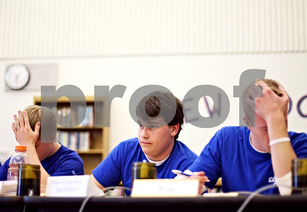 Beck Diefenbach  -  bdiefenbach@daily-chronicle.com<br /> <br /> Hinckley-Big Rock senior Chris Stola leads the HBR Academic Bowl Team during a match against Serena High School at HBR in Hinckley, Ill., on Thursday March 19, 2009.