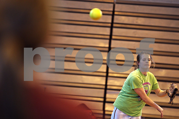 Beck Diefenbach – bdiefenbach@daily-chronicle.com<br /> <br /> Indian Creek senior Stevie Bozarth warms up during practice at the Indian Creek Middle School gymnasium in Waterman, Ill., on Wednesday March 11, 2009.