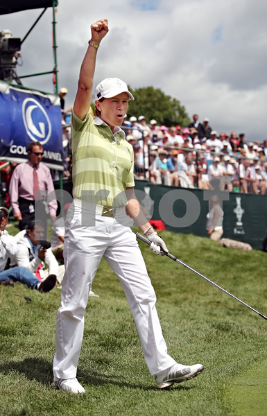 Beck Diefenbach  -  bdiefenbach@daily-chronicle.com<br /> <br /> Europe's Catriona Matthew celebrates after tieing up her match against team USA on the 17th hole in the Solheim Cup in Sugar Grove, Ill., on Saturday Aug. 22, 2009.
