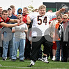NIU Football kicker Ryan Salerno left, pretends to block an extra point kick attempted by Marc Isabel of Sycamore during the Huskies' annual meeting with Special Olympics athletes on Sunday, October 4, 2009 in Dekalb. (Marcelle Bright/for the Daily Chronicle)