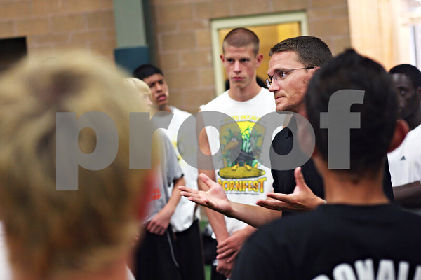 Beck Diefenbach  -  bdiefenbach@daily-chronicle.com<br /> <br /> DeKalb coach Brent McIntosh starts practice at the DeKalb Park and Recreation Center in DeKalb, Ill., on Wednesday August 26, 2009.