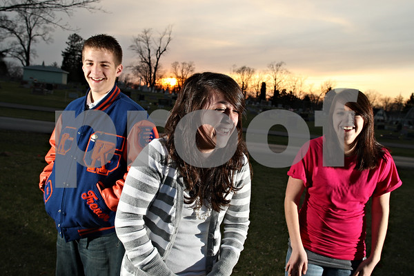 Beck Diefenbach  -  bdiefenbach@daily-chronicle.com<br /> <br /> Triplets, from left, Trevor, Emily and Katie Hanson.