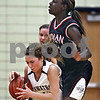 Beck Diefenbach  -  bdiefenbach@daily-chronicle.com<br /> <br /> Hiawatha's Michelle Novelli (15) and Indian Creek's Michelle Crayton (21) collide after pursuing a loose ball during the second quarter of the game at Hiawatha High School in Kirkland, Ill., on Monday Jan. 12, 2008.