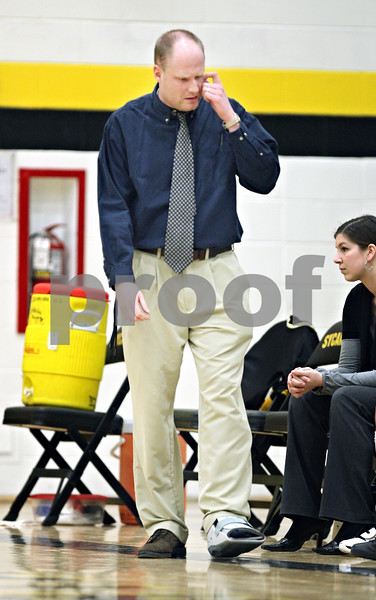 Beck Diefenbach  -  bdiefenbach@daily-chronicle.com<br /> <br /> Sycamore head coach Ryan Picolotti reacts after Geneva increases their lead during the first quarter of the game at Sycamore High School in Sycamore, Ill., on Tuesday Feb. 3, 2009. Geneva beat Sycamore 57 to 31.