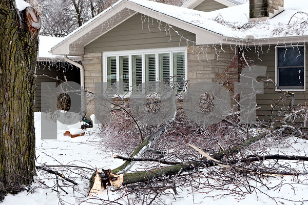 Rob Winner – rwinner@daily-chronicle.com<br /> Tree limbs litter the yard of a home on Somonauk Street in Sycamore, Ill. on December 24, 2009 after an ice storm.