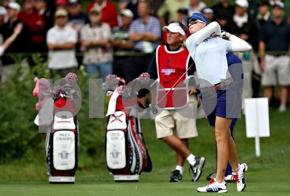 Rob Winner rwinner@shawsuburban.com<br /> Paula Creamer tees off on the sixth hole during the first round of the Solheim Cup on Friday.<br /> 08/21/2009