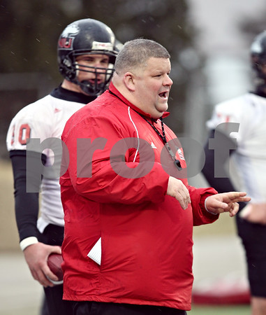 Beck Diefenbach  -  bdiefenbach@daily-chronicle.com<br /> <br /> Northern Illinois' offensive coordinator Matt Limegrover during practice at NIU's Huskie Stadium in DeKalb, Ill., on Tuesday March 24, 2009.