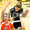 Beck Diefenbach  -  bdiefenbach@daily-chronicle.com<br /> <br /> Sycamore's Brittany Huber (7, right) and DeKalb's Baleigh Euhus (2) react after a DeKalb point during the first period of the game at Sycamore High School in Sycamore, Ill., on Thursday Oct. 15, 2009.