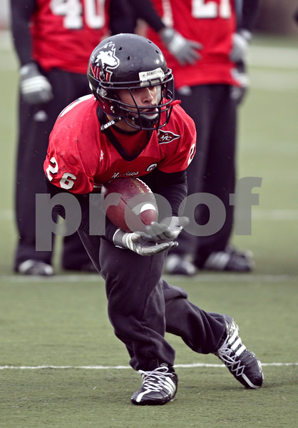 Beck Diefenbach  -  bdiefenbach@daily-chronicle.com<br /> <br /> Northern Illinois' Cory Hanson (26) during practice at NIU's Huskie Stadium in DeKalb, Ill., on Tuesday March 24, 2009.
