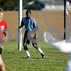 Rob Winner – rwinner@daily-chronicle.com<br /> <br /> Indian Creek's Shaquille Crayton remains alert while protecting the goal during Wednesday's match against Somonauk.<br /> <br /> 10/07/2009