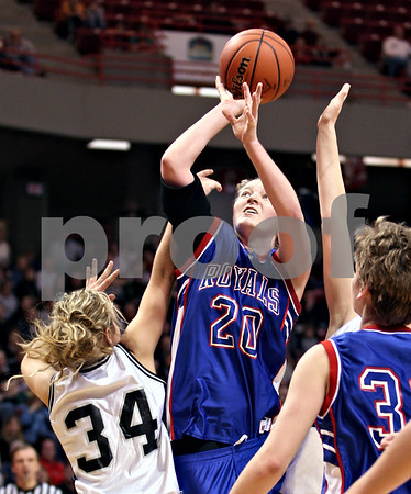 Beck Diefenbach – bdiefenbach@daily-chronicle.com<br /> <br /> Hinckley-Big Rock forward Jenna Thorp(20) shoots the ball around the reach of Winchester West Central High School guard Keri Lietz (34) during the fourth quarter of the Class 1A IHSA State Basketball Championships at the Red Bird Arena in Normal, Ill., on Saturday Feb. 28, 2009.