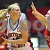 Beck Diefenbach  -  bdiefenbach@daily-chronicle.com<br /> <br /> Northern Illinois guard Jessie Wilcox (12) is covered by Ball State guard Kiley Jarrett during the first half of the game at the NIU Convocation Center in DeKalb, Ill., on Wednesday Jan. 21, 2009.