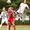 Beck Diefenbach  -  bdiefenbach@daily-chronicle.com<br /> <br /> Sycamore's Nini Newquist (right) and Cathum Glenwood's Annie Kwedar (left) leap to head the ball during the first half of the Class 2A third place tournament game at North Central College in Naperville, Ill., on Saturday June 6, 2009. Sycamore lost 1 to 2, taking fourth place in the tournament.