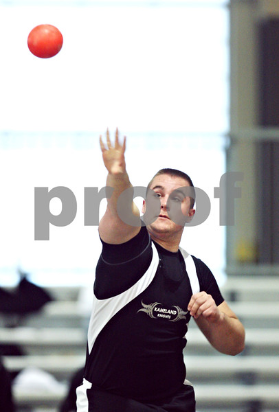 Beck Diefenbach  -  bdiefenbach@daily-chronicle.com<br /> <br /> Kaneland's Brett Ketza throws the shot put during the Western Sun Conference Invitational track and field meet at Sycamore High School in Sycamore, Ill., on Thursday March 19, 2009.