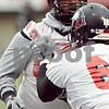 Beck Diefenbach  -  bdiefenbach@daily-chronicle.com<br /> <br /> Northern Illinois' Keith Otis (68) during practice at NIU's Huskie Stadium in DeKalb, Ill., on Tuesday March 24, 2009.